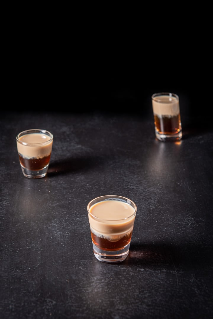 Closer view of the peanut butter and jelly shot
