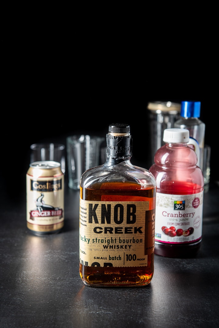Bourbon, cranberry juice, simple syrup and ginger beer for the bourbon cranberry cocktail
