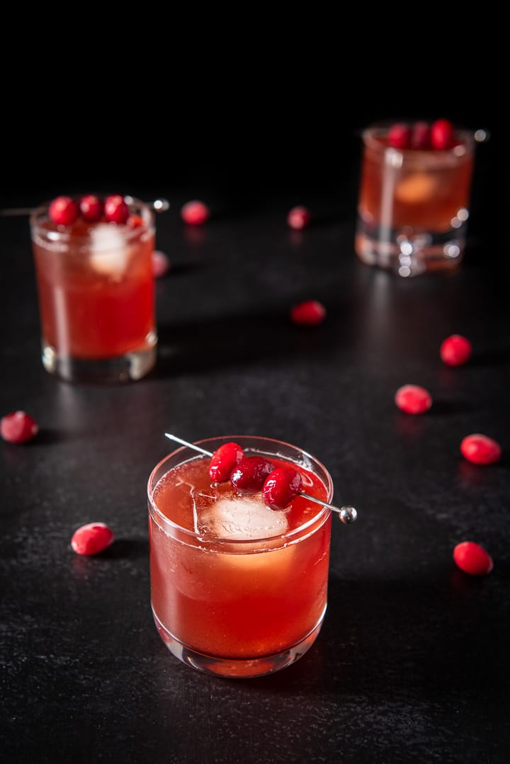 Closer view of the bourbon cranberry cocktail