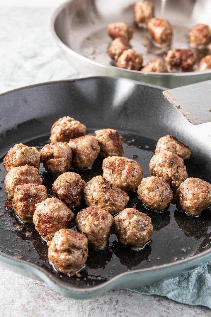 Sautéed meatballs for the bourbon meatballs