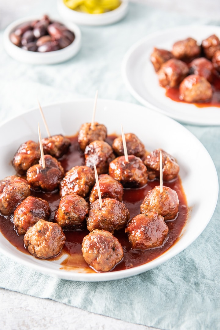 Different view of the bourbon meatballs