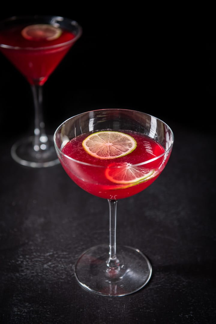 Almost overhead view of the pomegranate cosmo