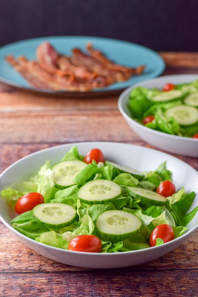 Cherry tomatoes added to the pear and pomegranate salad