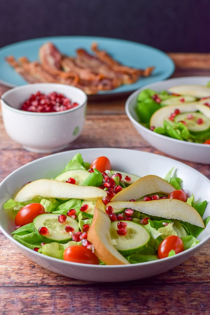 Pomegranate seeds added to the pear and pomegranate salad