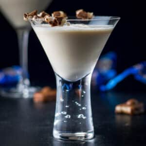 fun martini glass filled with the Almond Joy cocktail - square