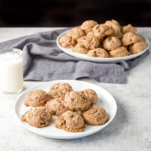 A small plate of chocolate cream cheese cookies - square