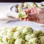 Hand holding one of the cream cheese pistachio cookies with a bite taken out of it