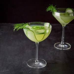 Cucumber dill martini in the bowl glass - square