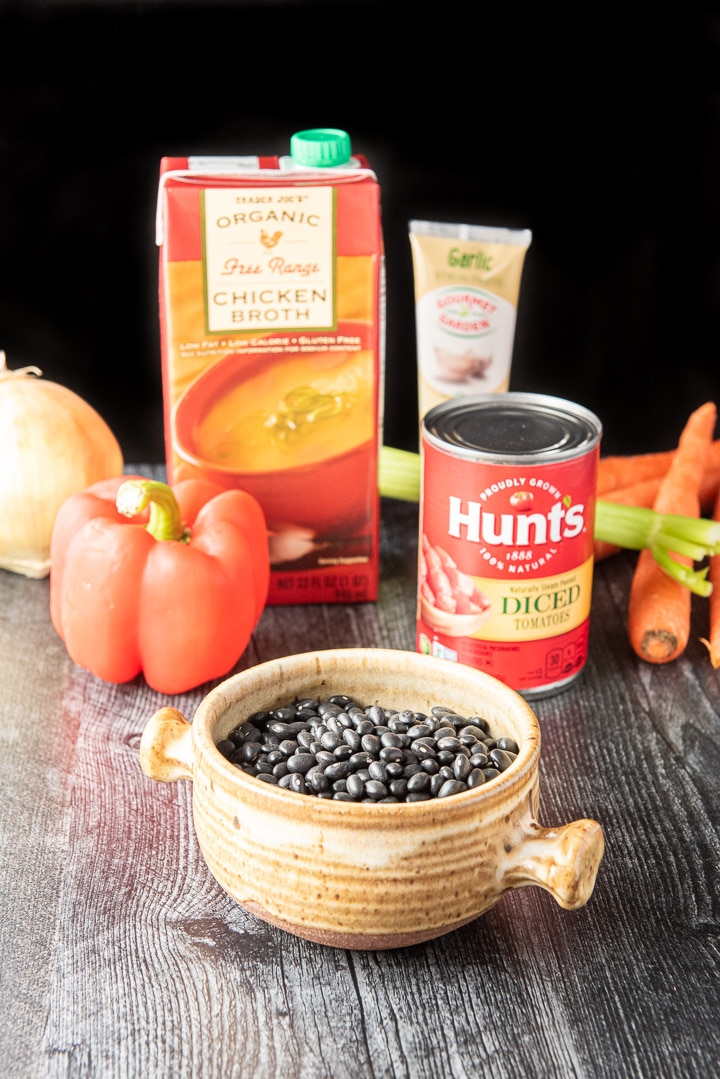 Black beans, vegetables, diced tomatoes, chicken broth and garlic for the instant pot black bean soup
