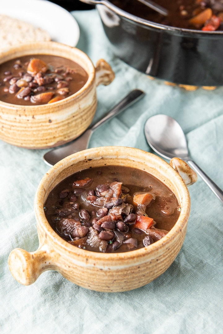 Close up of the crocks of instant pot black bean soup
