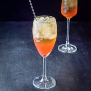 Night and day cocktail in a white wine glass - square