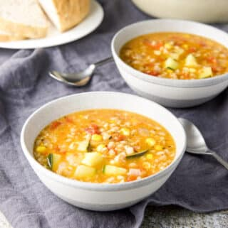 Grey bowl of summer soup - square