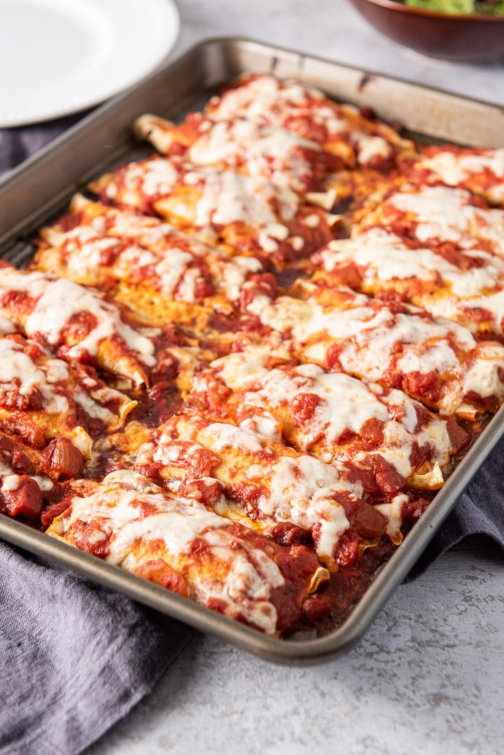 Baked manicotti fresh out of the oven