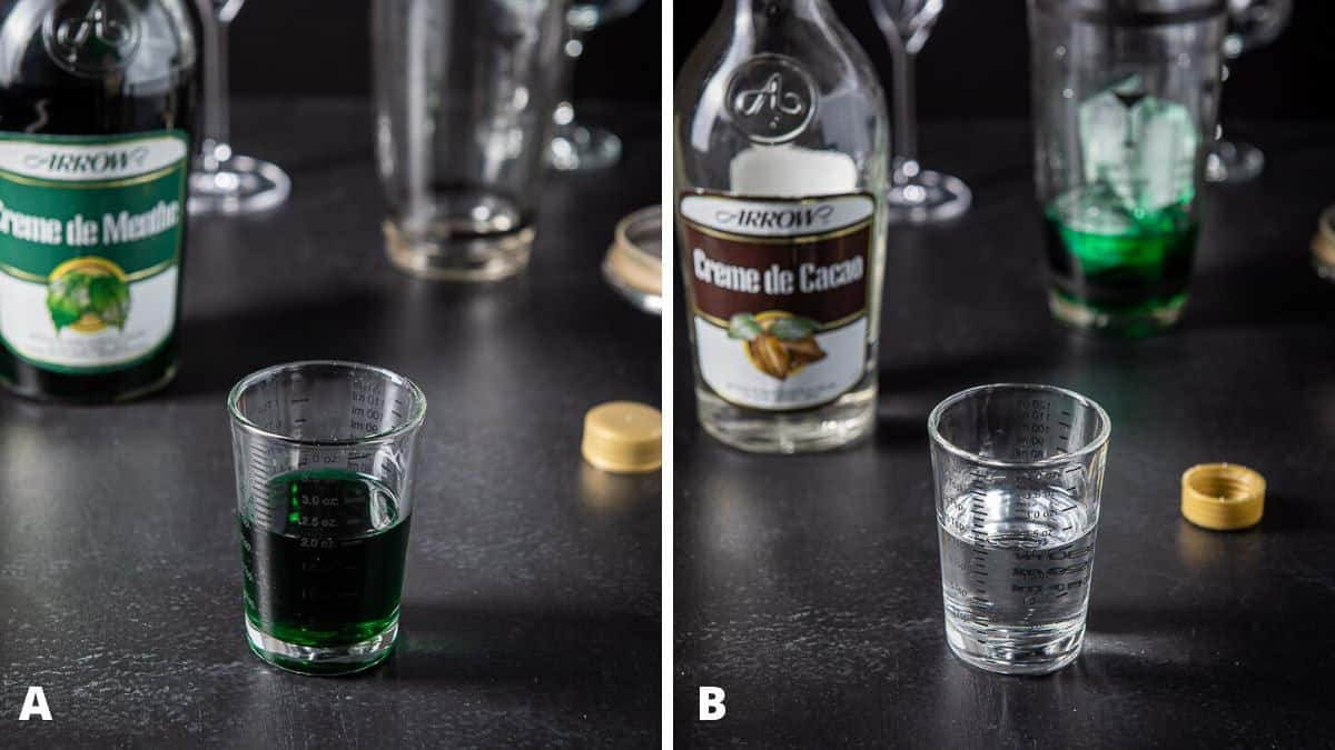 green creme de menthe and cacao measured for the grasshopper cocktail