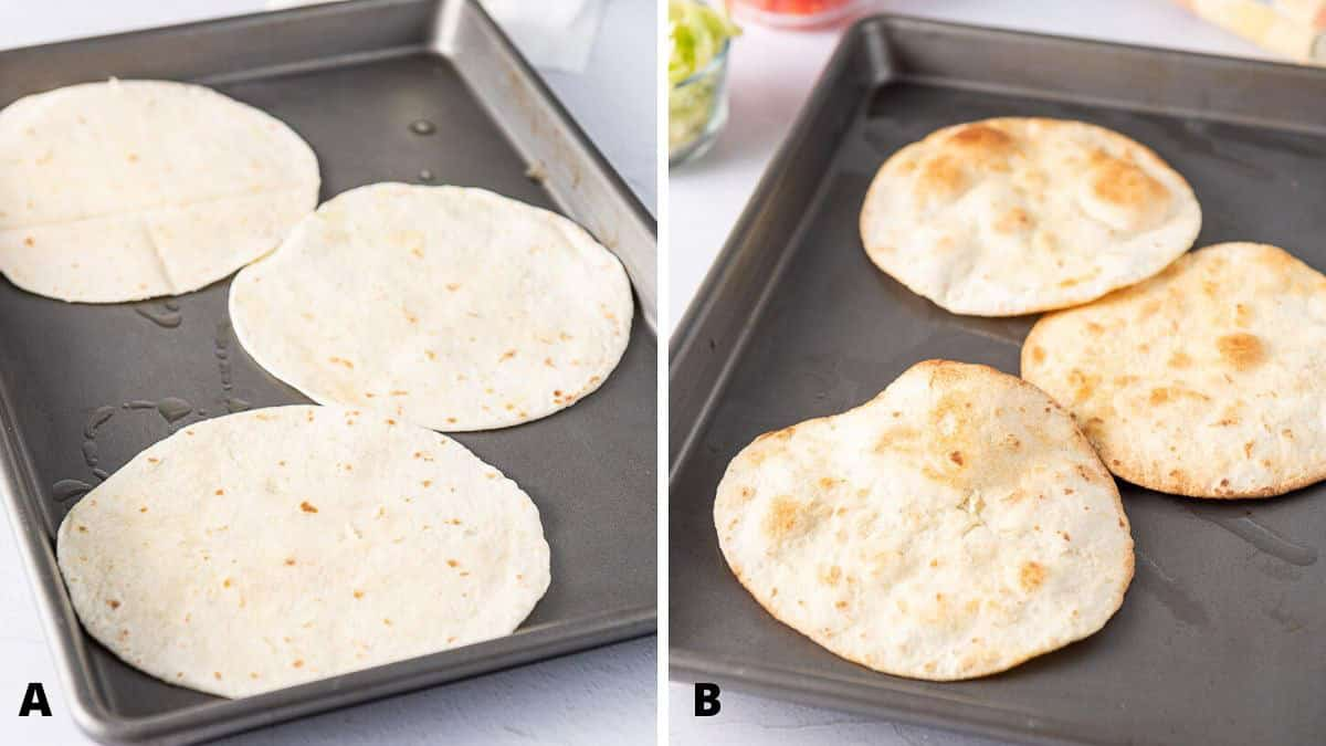 Flour tortillas on a pan toasted