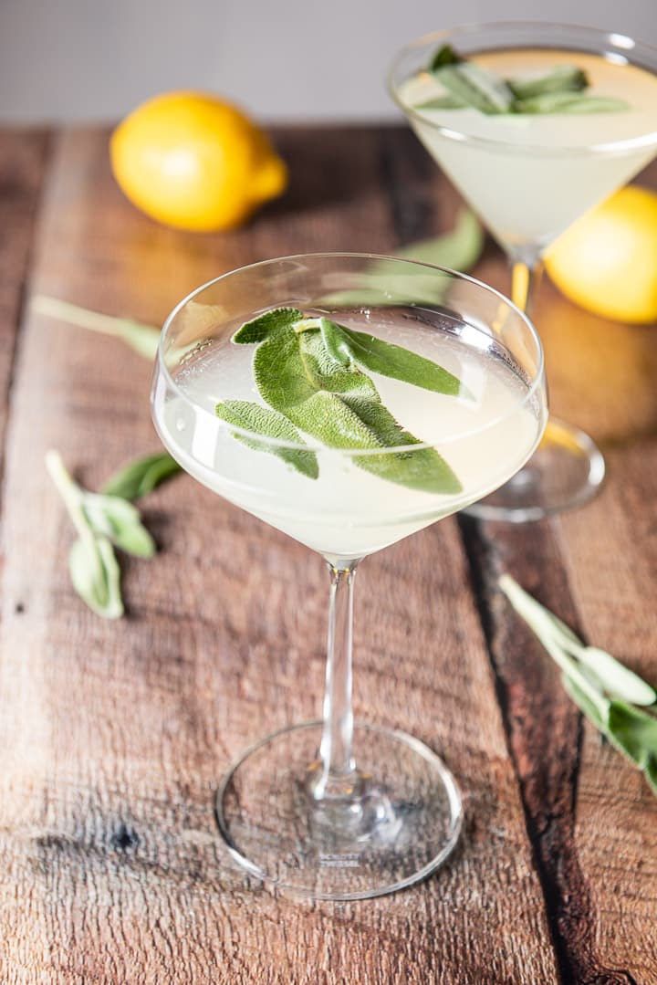 Fun martini glass filled with the limoncello martini and sage leaves