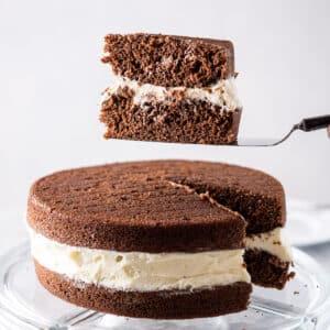 Piece of whoopie pie cake on the cake server - square