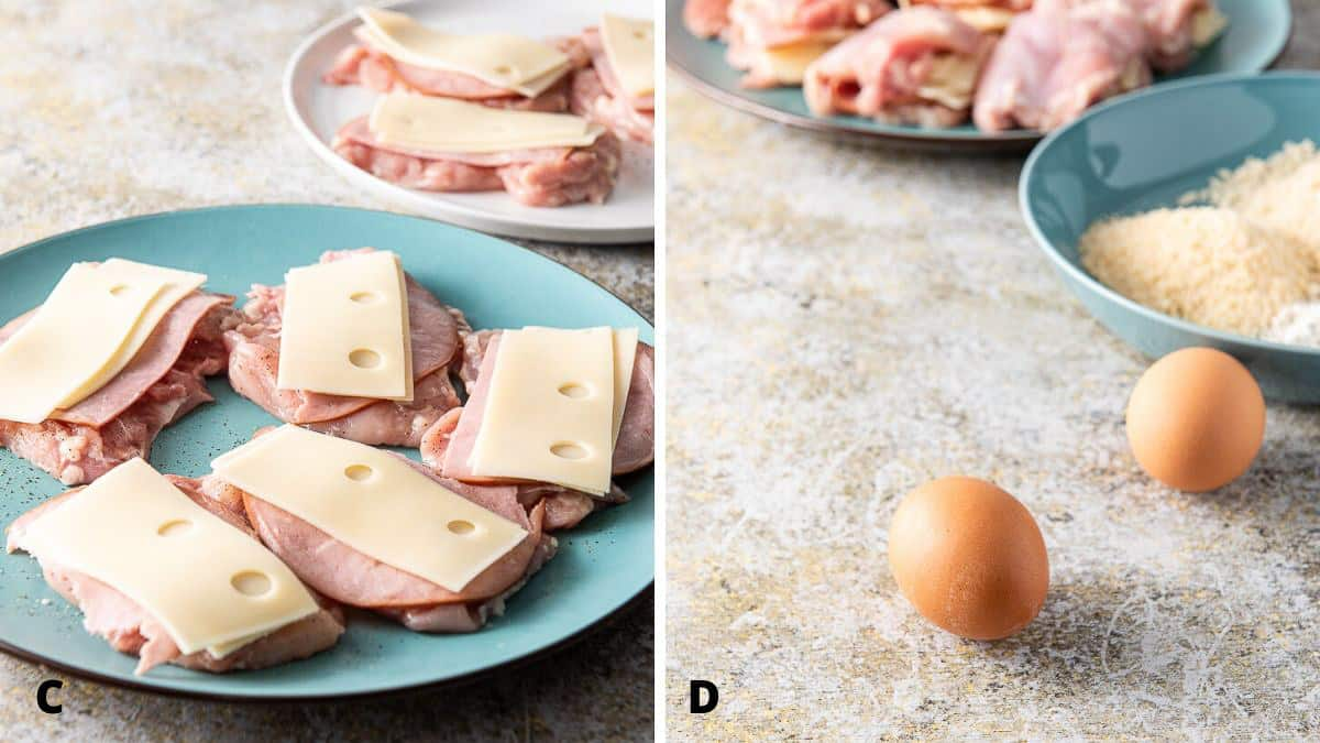 Swiss cheese on the ham and the eggs and breadcrumbs for the baked chicken cordon bleu