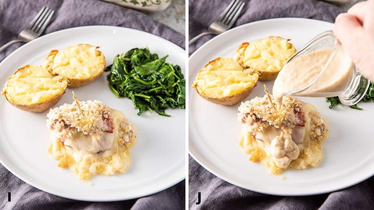 Baked chicken cordon bleu on a plate with the pouring of mustard sauce
