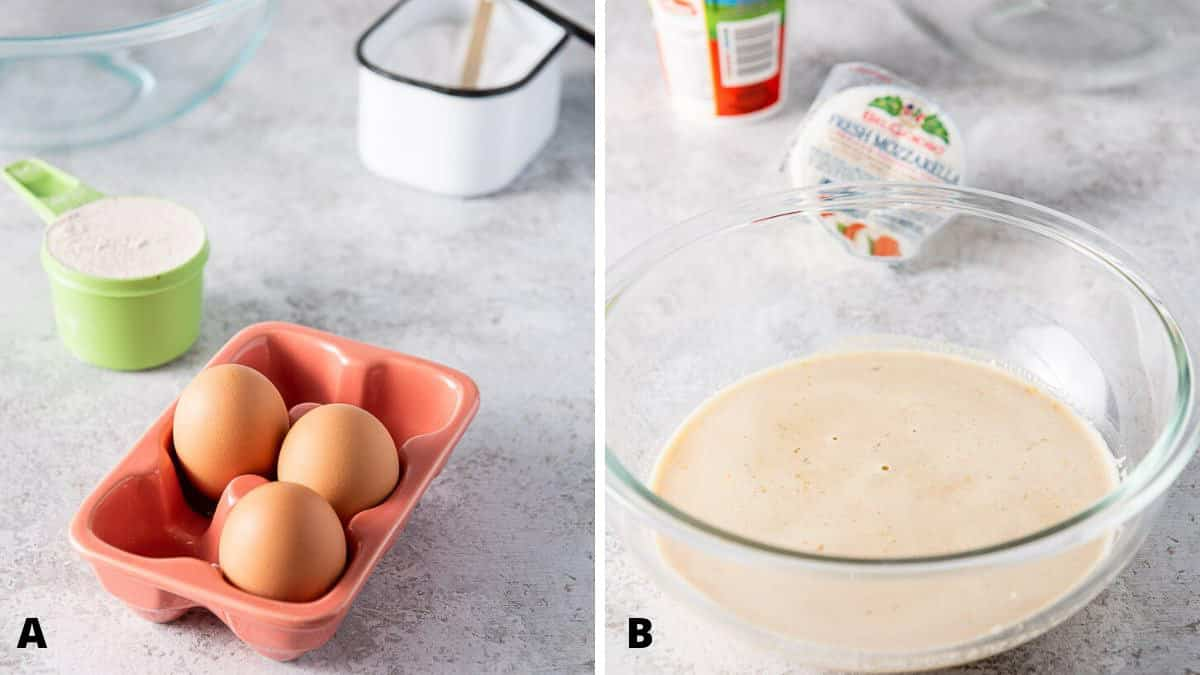 Eggs, flour and salt for the baked manicotti batter
