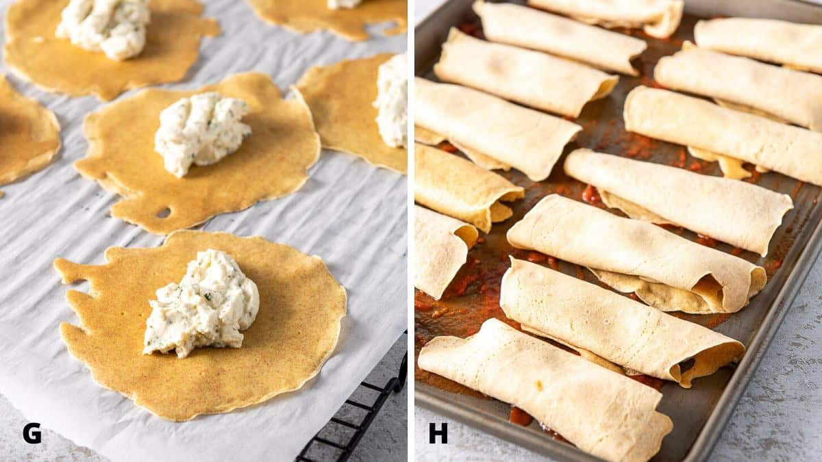 the crepes and rolled up for the baked manicotti