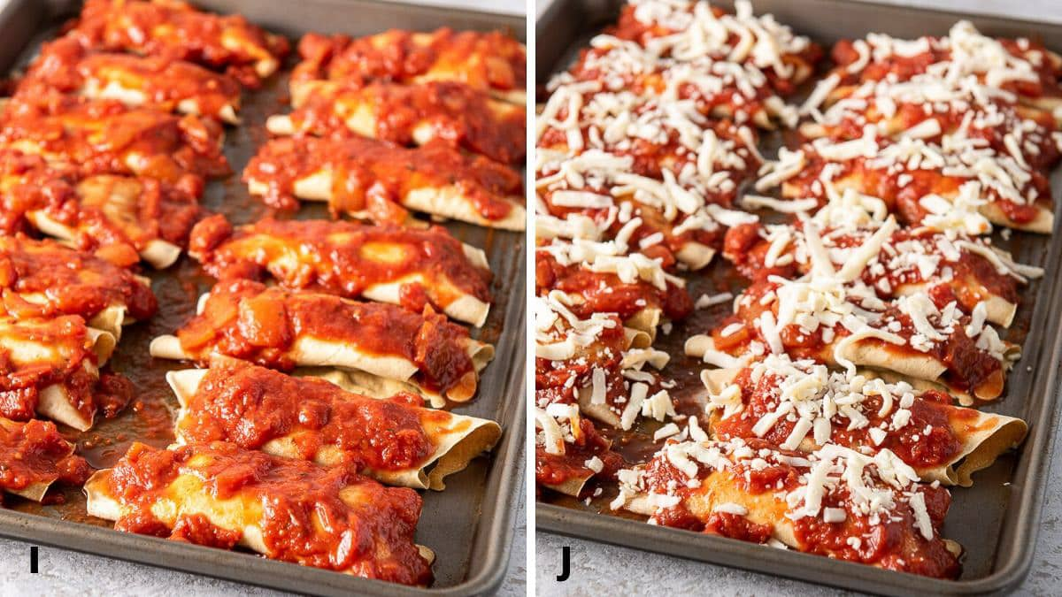 Baked manicotti in the pan with gravy and cheese on it