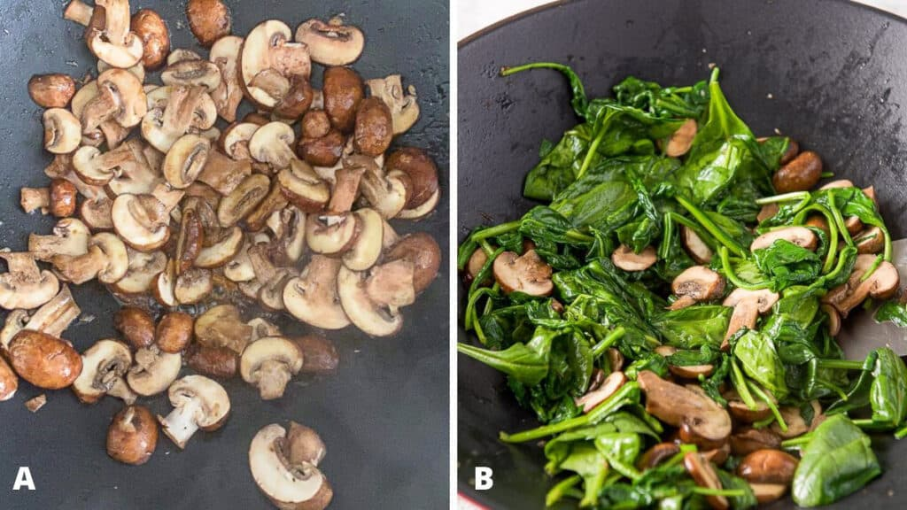 Mushrooms and spinach in the wok