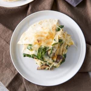 Mushroom and Spinach Quesadillas - square