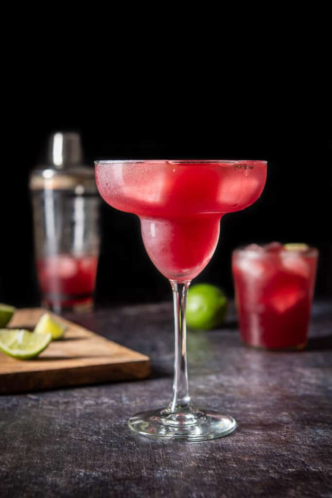 Dark background with the classic margarita glass